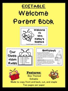 EDITABLE Back to School Parent Book