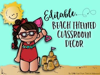 EDITABLE Beach/Ocean Themed Classroom Decor & Supplies Set