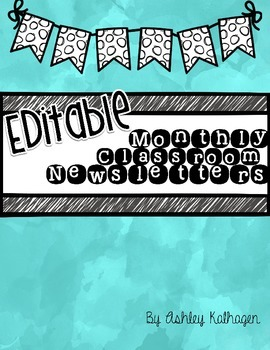 {EDITABLE} Black and White Monthly Newsletters