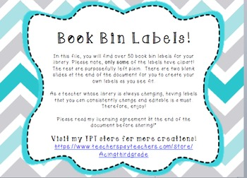 EDITABLE Library/Book Bin Labels!