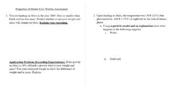 EDITABLE - Bundle for Properties of Matter Unit Test