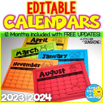 EDITABLE Calendars 2016 - 2017