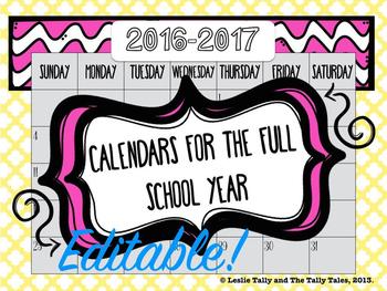 EDITABLE Calendars for the 2016-2017 School Year: Color &