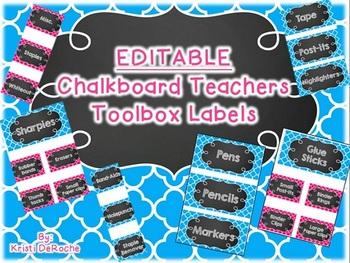 EDITABLE Chalkboard Teacher Toolbox Labels- Blue & Pink