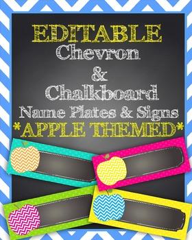 EDITABLE Chevron Apple & Chalkboard Themed Name Plates/Des