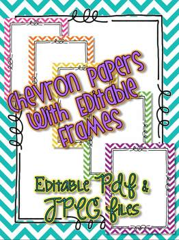 EDITABLE Chevron Paper with Frames and JPEG File