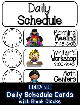 EDITABLE Daily Schedule Cards with Blank Clocks