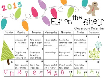 EDITABLE Classroom Elf Planning Calendar *FREEBIE*