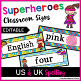EDITABLE Classroom Header Cards - Superhero Superheroes Theme