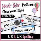 EDITABLE Classroom Header Cards - Watercolor Hot Air Ballo