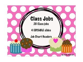 EDITABLE Classroom Jobs Cupcakes