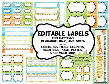 EDITABLE Classroom Labels for Supply Bins, Book Genres, an