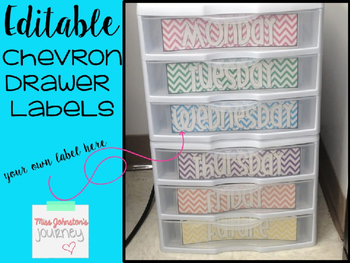 EDITABLE Colorful Chevron Sterilite Drawer Labels