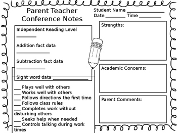 EDITABLE - Conference Note Page