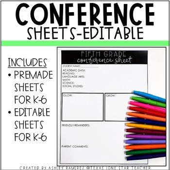 EDITABLE Conference Sheets