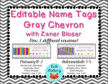 EDITABLE Gray Chevron Desk Name Plate Intermediate 3rd-5th