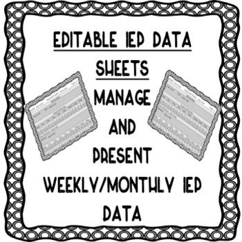 EDITABLE IEP DATA SHEETS FOR PROGRESS MONITORING