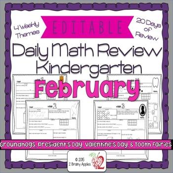 Math Morning Work Kindergarten February Editable