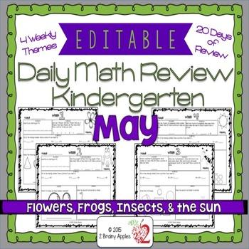 Math Morning Work Kindergarten May Editable