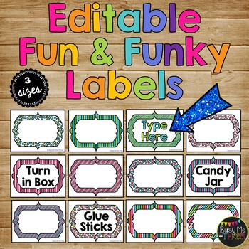 EDITABLE Labels for Classroom Organization, Decor, Stripes
