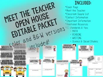 EDITABLE Meet the Teacher Open House Information Packet!