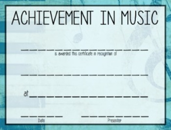 *EDITABLE* Music- End of Year Certificates