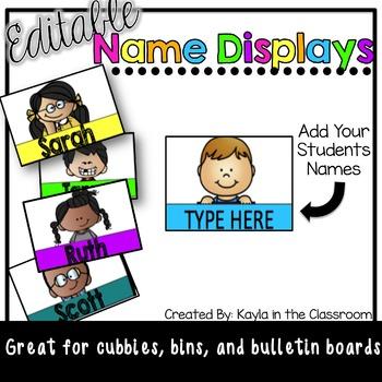 EDITABLE Name Cards/Displays