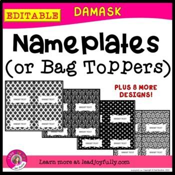 EDITABLE Name Plates or Bag Toppers (DAMASK)