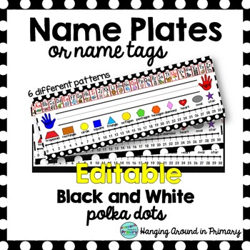 EDITABLE Name Tags / Name Plates - 2D Shapes - Black and W