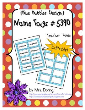 EDITABLE Nametags #5390 {Blue Bubbles Design}