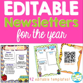 EDITABLE Newsletters and Letter Head for the Year