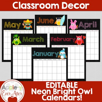 EDITABLE Owl Theme Chalkboard Calendar - Teacher/Parent Mo