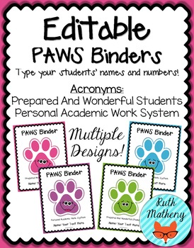 EDITABLE PAWS Binder {Student Organization Folder}