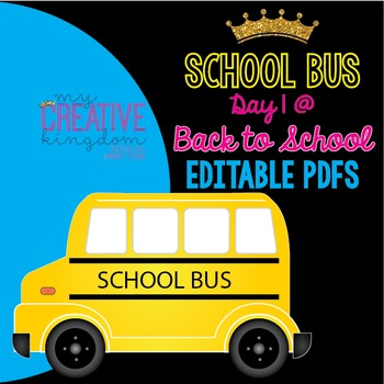 EDITABLE PDF Back to School Bus Printables and Table Tent