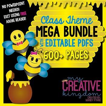 EDITABLE PDF Bee Theme Mega Bundle