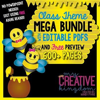 EDITABLE PDF Bee Theme Mega Bundle Free Preview
