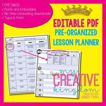 EDITABLE PDF Interactive Teacher Lesson Planner