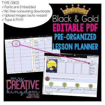 EDITABLE PDF Interactive Teacher Lesson Planner (Black and Gold)