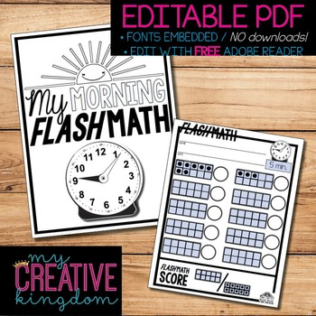 EDITABLE PDF Ten Frame Flash Math Morning Workbook