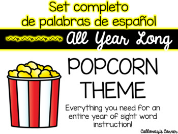 EDITABLE Popcorn Sight Words in Spanish