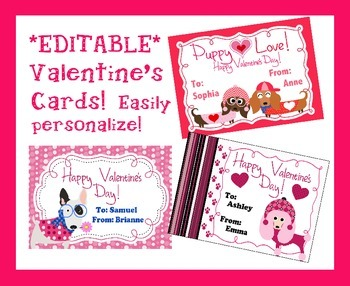 *EDITABLE* Puppy Dog Valentine's Cards for Students, Staff