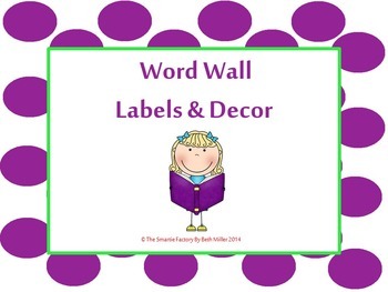 Word Wall Labels and Decor Packet: EDITABLE (Purple and Gr