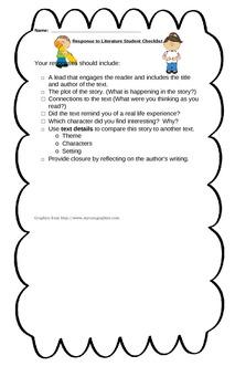 EDITABLE Response to Literature Student Checklist