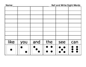 EDITABLE Roll and Write Vocabulary - Sight Words