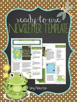 EDITABLE School Class Newsletter Template (Frogs Theme)