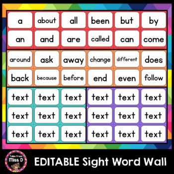 Editable Sight Word Wall