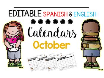 EDITABLE Spanish & English Behavior Calendar {October}