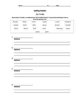 EDITABLE Spelling Sentence Worksheet
