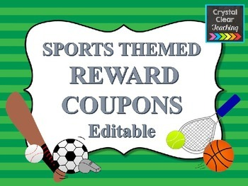 EDITABLE Sports Themed Reward Coupons