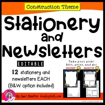 EDITABLE Stationery & Newsletters (Construction Theme)